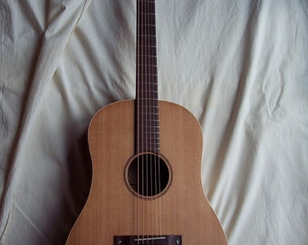 Baritone acoustic-electric guitar made in USA unique old school hybrid with B-Band A4.2 Sidemount Pickup System, 5-ply wooden case