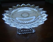 Vintage crystal Tiara 7 inch footed plate 24 percent lead crystal by Godinger for Shannon Crystal wedding table decor gift serving dining