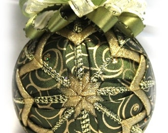 Sage Fantasy Gold Glitter Unique Handmade Keepsake Quilted Christmas Ornament