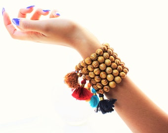 Burlywood and Pave Cotton Tassel Bracelets