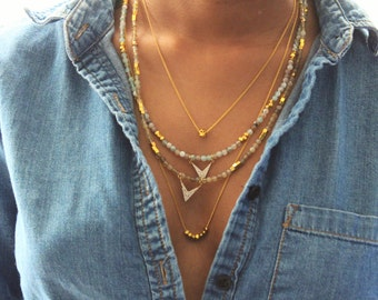 Small Pastel Gemstones and Gold Pave Beaded Necklace