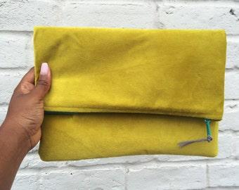 Lime Green Foldover Clutch handbag purse