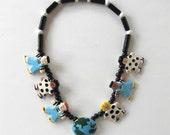 SALE, Flying Colors Vintage ceramic necklace, Children, Globe, handmade, signed, gift idea