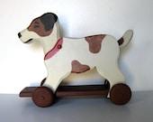 Vintage dog pull toy, circa 90's, Jack Russel Terrier, Nursery Decor,Artist Signed, Primitive Folk Art, gift idea
