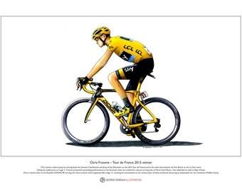Chris Froome - Tour de France 2015 winner - Ltd Edition Fine Art Print A3 size