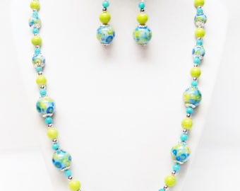 Round Aqua Glass Flower Beads Necklace/Earrings Set