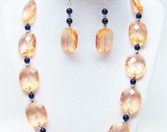 Pillow Flat Transparent Peach Faceted Acrylic Bead Necklace /Bracelet & Earrings Set