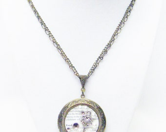 Large Round Bronze Locket w/Pearls/Rhinestones/Key Pendant Necklace