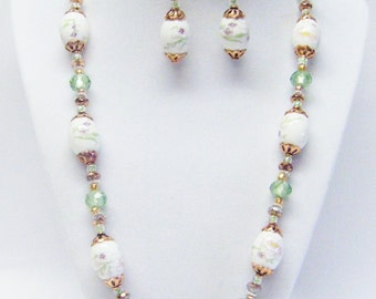 Oval Painted Ceramic Bead Necklace & Earrings Set w/Rose Gold Findings