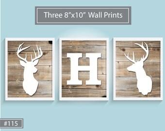 Deer Wood Nursery Prints - Set of 3 (8x10) Wood Deer Silhouette, Boy Room, Nursery Wall Decor, Custom Letter - Design #115