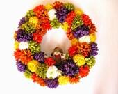 "Large 18"" fall flower wreath, Decorative autumn silk door wreath, Scarecrow door decoration, Large fall floral accent wreath (A82)"