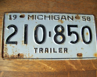 Vintage Michigan Trailer License Plate 1958.Michigan License Plate.Old License Plate.Pool Room Decor.Michigan Awesome.Metal License Plate.