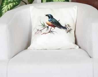 Decorative Pillows, 16x16 Pillowcase, Bird Pillow Case, Bird Cushion Cover, Bird Pillow Cover, Bird Throw Pillow, Home Decor Pillowcase
