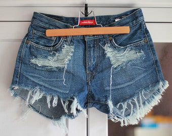 Ripped Front Denim Shorts Destroyed Jeans Vintage Medium Blue Color Women DIY Cut Off Jeans W27 / Small
