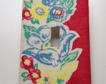 Decorative Switch Plate Cover featuring Vintage Graphic Fabric