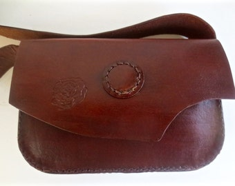 Brown leather purse, across the body purse, embossed rose purse, shoulder bag