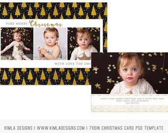 7x5in Christmas Card PSD Template