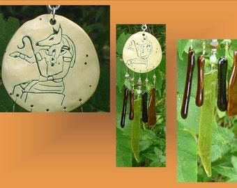 Amber Glass Windchime, Ceramic Wind Chime , Anubis Egyptian Art, Garden Decor, Window Suncatcher, Pottery Mobile