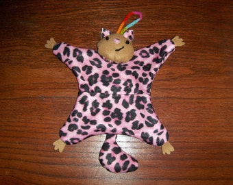 Hanging plushy pocket squirrel - hot pink leopard  - free shipping!