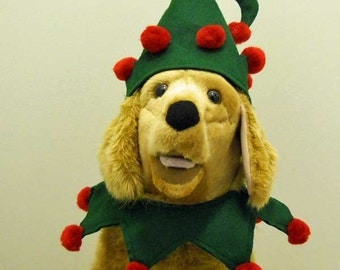 Pet Costume Large Dog Christmas Elf  Christmas Costume With Optional Bells  Made to Order