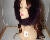 """R-95 Genuine Purple Fox fur Ruff Trim for Hood 23.5"""""""