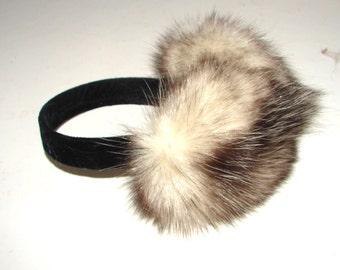 EM-72 Genuine Long Haired Natural White Beige OPOSSUM Fur Earmuffs