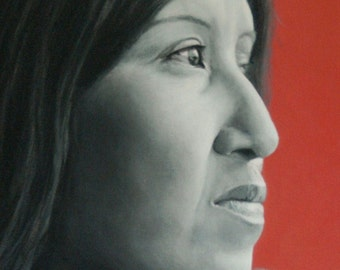 """Canvas Giclee Print of acrylic painting, CAHUILLA WOMAN, 20 x 16"""""""