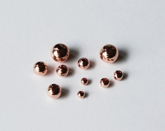 Copper Plated Seamless Round Beads Sizes 3 To 8.00 MM  Choose Size And quantity