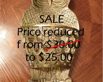 SALE - Solid Brass - Owl - Wall Hanging - Wall Pocket -  MG-274