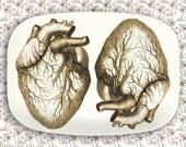 Hearts in brown melamine platter