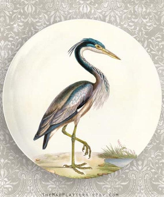 Heron melamine plate