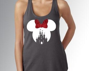 Minnie Mouse Castle Cut Out * Women's Dark Gray Racerback Tank Top * White & Red Glitter Bow * Run Disney * Disneyland/World Vacation Shirt