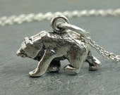 Tiny Bear Necklace - 925 Sterling Silver - Grizzly Honey Brown Bear Charm New