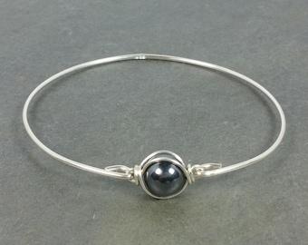 Hematite Bangle Bracelet - 925 Sterling Silver - Gemstone Bridal Jewelry NEW