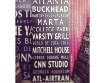 Customized Atlanta Travel Sign, subway sign word art on canvas, Favorite Atlanta City Destinations on a canvas