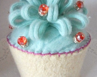 Felted Cupcake, Felted Confections, Cashmere Cupcake, Cable Knit Sweater Cupcake