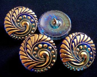 Czech  Glass Buttons  4 pcs  REVERSE PAINTED  27mm   IVA 139