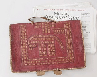 old Ethnic tooled & embroidered leather briefcase