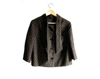 1960 french little JACKET polka dots gold on black seersucker tie collar small