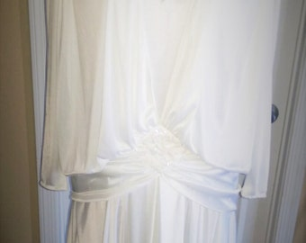 Abby Kent tea length white dress, size 8, polyester, Sequined shoulders and front applica, Tucked over bodice,  attached wrap around sash,