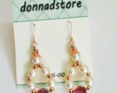 rose gold and pearl ladies dangle earrings