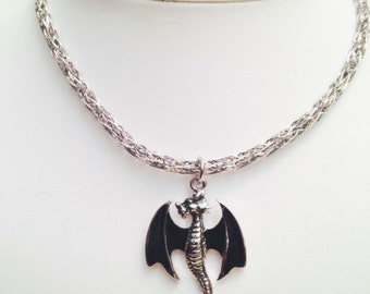 Flying dragon silver and pewter viking knit mens or unisex necklace