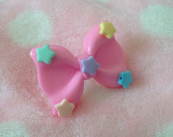 Kawaii baby pastel pink bow ring with stars cute