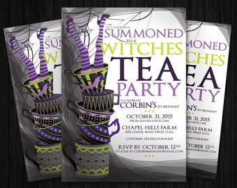 PRINTABLE Witches Tea Party Halloween Birthday Invitation
