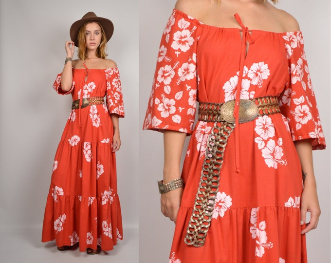 70's Off the Shoulder Maxi Dress red white floral vintage