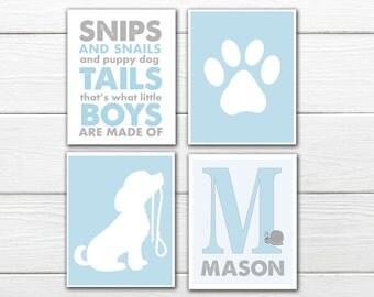 Puppy Nursery -  4 Print Set- Snips and Snails - Blue and Gray Nursery Decor-