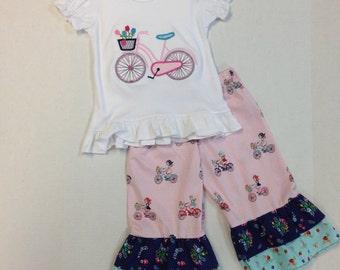 Bicycle Ruffled Top and Pant Set