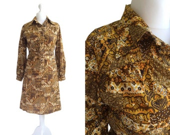 Vintage 70's Dress - 1970's Dress - Brown And Orange Pattern / Print Dress - Large Medium - Wide Collar Shirt Dress