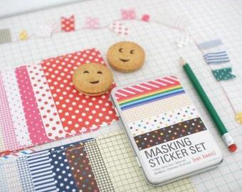 27 sheets Korea Masking sticker set in a tin case - ver. basic