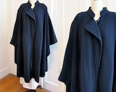 Boiled Wool Cape - Geiger - Navy - Pockets - Toggles and Loops - Coat - Jacket - Winter Caper